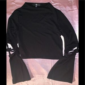 Missguided Cut Out Tie Detail Sleeve Crop Top